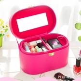 韓版旅行化妝箱大容量女士化妝品收納包袋防水可愛小號便攜洗漱包 JY10317【Pink 中大尺碼】