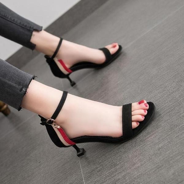 新款露趾一字扣百搭法式少女細跟高跟鞋仙女 淇朵市集