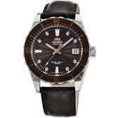 【台南 時代鐘錶 ORIENT】東方錶 SPORT系列 百米潛水機械錶 FAC0A005T 皮帶 銀/咖啡 39mm