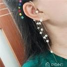 單邊耳環珍珠流蘇無耳洞耳掛耳環單邊個性不...