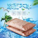 交換禮物 冰絲枕套一對成人夏涼夏季涼爽水洗吸汗透氣夏天枕頭大號枕芯枕套
