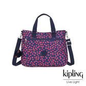 Kipling 古典茜紅小花前後拉鍊袋手提側背兩用包-GELLA