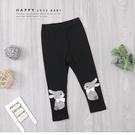 黑色 可愛灰兔兔緞帶蝴蝶結內搭褲 打底褲...