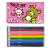 asdfkitty可愛家☆日本san-x拉拉熊 松鼠 粉紅色鐵盒12色色鉛筆-日本製