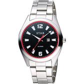 STAR 時代 城市摩登石英腕錶-黑x紅圈x銀/39mm 9T1602-231S-DR