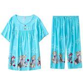 睡衣女夏純棉綢短袖兩件套薄款家居服女式韓版人造棉綿綢套裝大碼   mandyc衣間