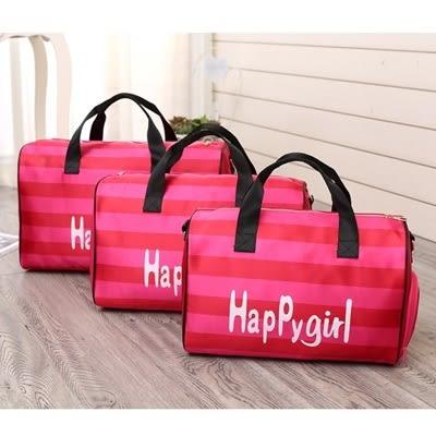 旅行袋條紋行李袋-防潑水大容量輕便肩背手提包2色73pp327[時尚巴黎]
