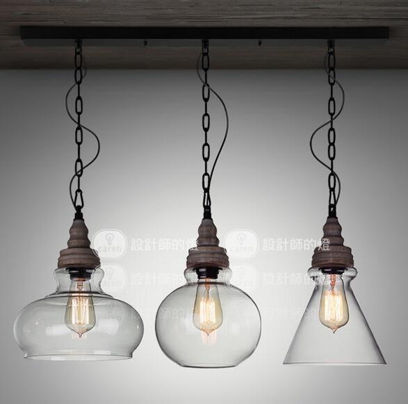 美術燈 餐廳燈簡約北歐式創意樓梯天然原木實木棕木玻璃罩吊燈(直排三燈/圓形三燈) -不含光源