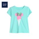 Gap女幼Gap x Disney迪士尼系列棉質舒適印花圓領T恤555662-冰藍色
