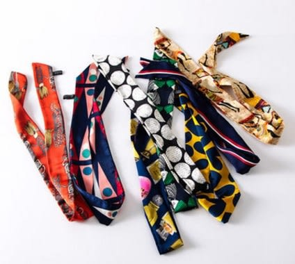 [協貿國際]  女士春夏綢緞長領巾小絲帶圍巾 (1入)