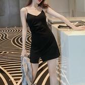 性感開叉吊帶洋裝女短款小個子夏新款顯瘦氣質小黑裙內搭打底裙