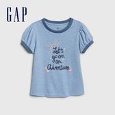 Gap女幼甜美風格刺繡短袖T恤539783-淺藍色