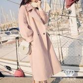 毛呢外套 韓版矮個子風衣顯瘦女中長款加厚毛呢大衣