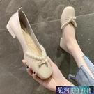 瑪麗珍鞋 淺口單鞋女春季新款時尚百搭珍珠女鞋一腳蹬粗跟瑪麗珍奶奶鞋 星河光年