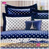 雙人5*6.2尺【薄床包+薄枕套】/精梳棉/『點亮巴黎』藍☆*╮(MIT)