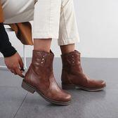 大尺碼女鞋  2019新款簡約百搭純色中跟短靴~3色