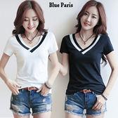 藍色巴黎 ★ 韓版黑白撞色V領顯瘦短袖上衣  T恤 《2色》【28211】