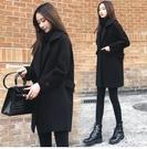 中長外套毛呢大衣S-2XL/寬鬆顯瘦黑色...