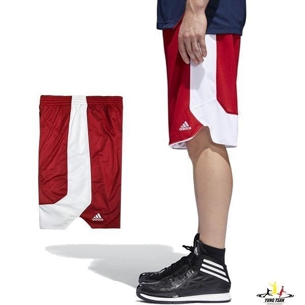 Adidas 男 紅 白 短褲 籃球褲 雙面穿 團體籃球褲 球褲 透氣 球衣 短褲 刺繡 運動褲 CD8678