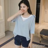 夏季寬鬆插肩袖假兩件條紋襯衫女韓范學院風百搭T恤上衣  蒂小屋服飾