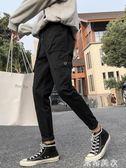 黑色chic工裝褲男潮牌韓版潮流直筒寬鬆春季男生九分休閒束腳褲子 米希美衣