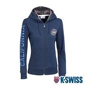 K-SWISS Sleeve CA Print Jkt刷毛連帽外套-女-藍
