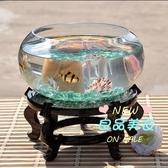 魚缸 布意桌面生態圓形玻璃金烏龜缸迷你小型造景家用水族箱T