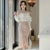 歐媛韓版 女神範套裝夏季裸肩拼紗荷葉邊上衣蕾絲高腰包臀半身裙潮洋裝 店慶降價