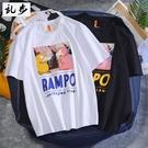 日系卡通印花短袖T恤男夏季潮流寬松半袖上衣服潮牌學生情侶體恤 印象家品