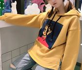 EASON SHOP(GU4392)水墨畫側開衩連帽圓領長袖T恤大學T女上衣服素色秋冬裝韓版寬鬆卡通人物絨刷毛帽T