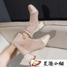 ins網紅瘦瘦靴增高粗跟高跟鞋秋冬季新款及裸靴百搭加絨短靴 星際小鋪
