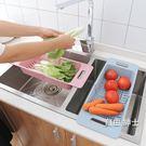 可伸縮水槽瀝水架塑料放碗筷架子家用廚房碗...