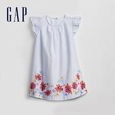 Gap女幼童 清新花卉圓領洋裝 871260-淺藍條紋