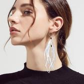 【免運到手價$98】誇張設計師白色羽毛耳環女氣質流蘇長款耳墜顯臉瘦的大氣耳飾