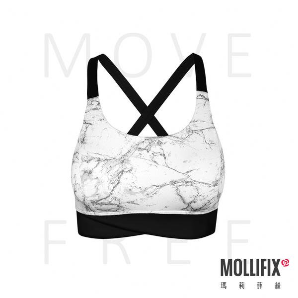 Mollifix 瑪莉菲絲 MoveFree 寬帶交叉緩震運動BRA (石紋白)