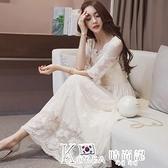 蕾絲洋裝-夏季女裝2021新款春裝韓版蕾絲洋裝顯瘦沙灘裙仙女氣質高腰長裙