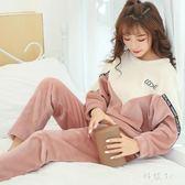 睡衣 睡衣女冬天珊瑚絨加厚保暖大尺碼舒適秋冬款法蘭絨套裝家居服 js16424『科炫3C』