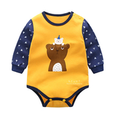 撞色小熊長袖三角包屁衣 連身服 兔裝 哈衣 嬰兒服