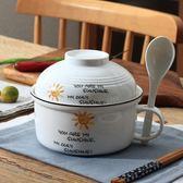 【618好康鉅惠】泡面碗大號泡面杯湯碗碗筷套裝陶瓷碗帶蓋
