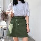 春季新款韓版學生百搭高腰 半身裙女夏顯瘦牛仔裙A字裙短裙子  快速出貨