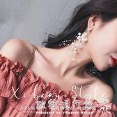 耳環  珍珠耳環女氣質韓國個性百搭顯臉瘦的夸張長款耳釘防過敏純銀耳墜『歐韓流行館』