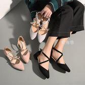 涼鞋女 新款包頭涼鞋女夏低跟單鞋女尖頭百搭韓版粗跟高跟鞋中跟 鹿角巷