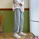 熱賣牛仔褲 牛仔褲女春季韓版新款直筒寬鬆百搭高腰顯瘦闊腿褲復古淺色2021年 coco