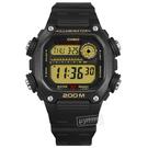 CASIO / DW-291H-9A / 卡西歐 電子液晶 計時碼錶 世界時間 防水200米 10年電力 橡膠手錶 黑色 41mm