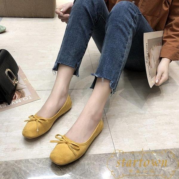 春夏季韓版復古蝴蝶結淺口芭蕾鞋單鞋平底豆豆鞋【繁星小鎮】