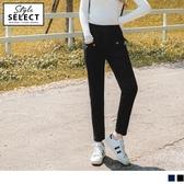 《KG0726》高含棉貼布條紋造型口袋直筒休閒褲 OrangeBear