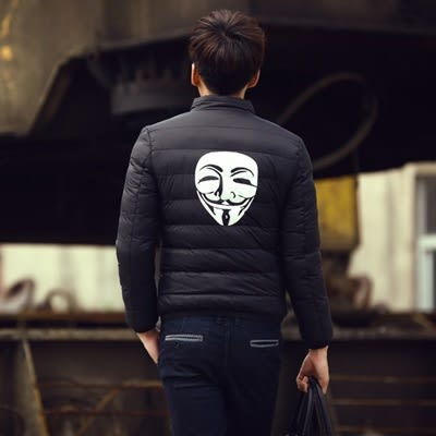 羽絨外套立領夾克-簡約面具印花休閒男外套2色73kf47【巴黎精品】