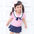 短袖套裝 條紋 學院風 水手服 上衣 褲裙 女寶寶 Augelute Baby 52215