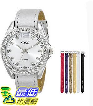 [美國直購] 女錶 XOXO Women s XO9062 Silver-Tone Watch with Interchangeable Bands