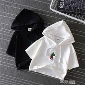 韓版刺繡笑臉仙人掌寬鬆短款露臍夏裝上衣女繫帶連帽短袖T恤 道禾生活館